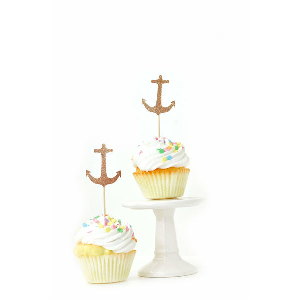 Anchor Rose Gold Glitter Cupcake Toppers, Cake & Cupcake Toppers, Jamboree Party Box, Jamboree