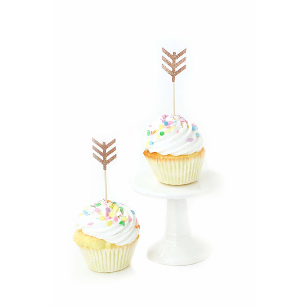 Arrow Rose Gold Glitter Cupcake Toppers, Cake & Cupcake Toppers, Jamboree Party Box, Jamboree