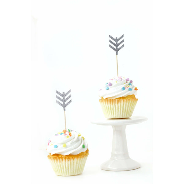 Arrow Silver Glitter Cupcake Toppers, Cake & Cupcake Toppers, Jamboree Party Box, Jamboree