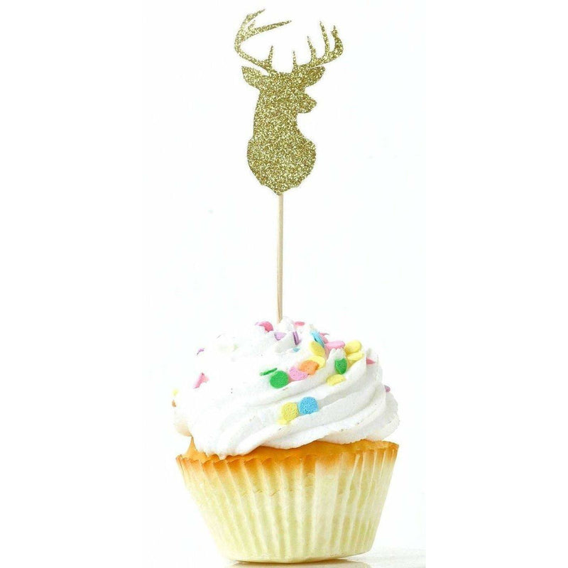 Buck Gold Glitter Cupcake Toppers, Cake & Cupcake Toppers, Jamboree Party Box, Jamboree