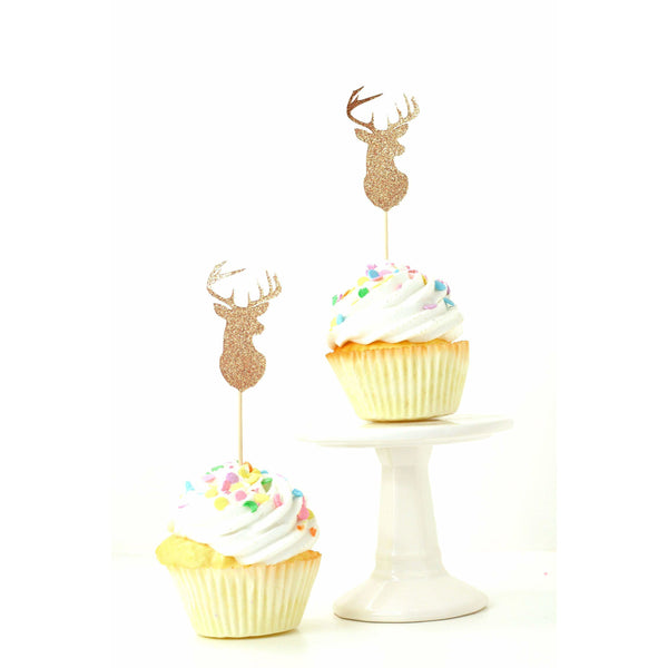 Buck Rose Gold Glitter Cupcake Toppers, Cake & Cupcake Toppers, Jamboree Party Box, Jamboree