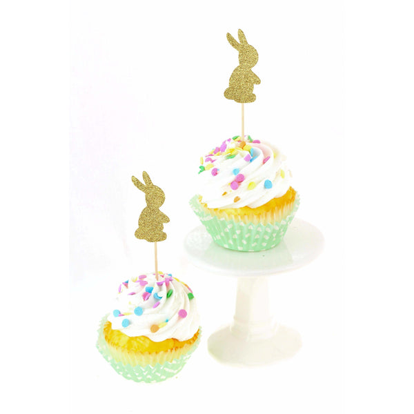 Bunny Gold Silver Glitter Cupcake Toppers, Cake & Cupcake Toppers, Jamboree Party Box, Jamboree