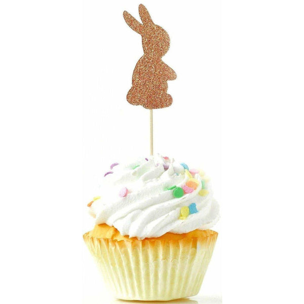 Bunny Rose Gold Glitter Cupcake Toppers, Cake & Cupcake Toppers, Jamboree Party Box, Jamboree