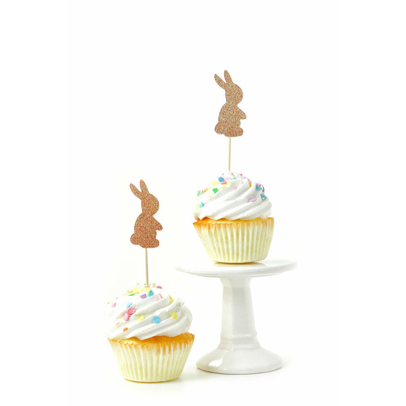Bunny Rose Gold Glitter Cupcake Toppers, Cake & Cupcake Toppers, Jamboree