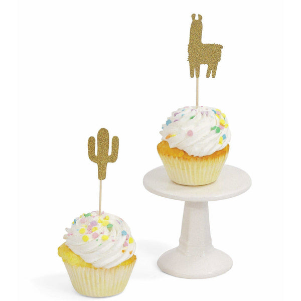 Cactus Llama Gold Glitter Cupcake Toppers, Cake & Cupcake Toppers, Jamboree Party Box, Jamboree
