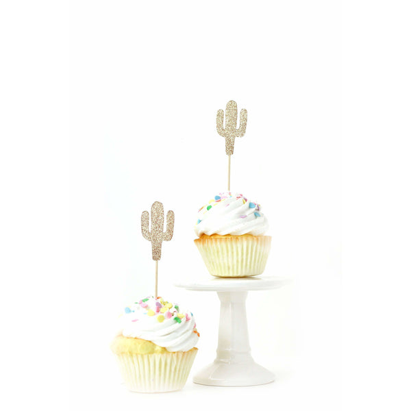 Cactus Rose Gold Glitter Cupcake Toppers, Cake & Cupcake Toppers, Jamboree