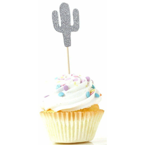 Cactus Silver Glitter Cupcake Toppers, Cake & Cupcake Toppers, Jamboree Party Box, Jamboree