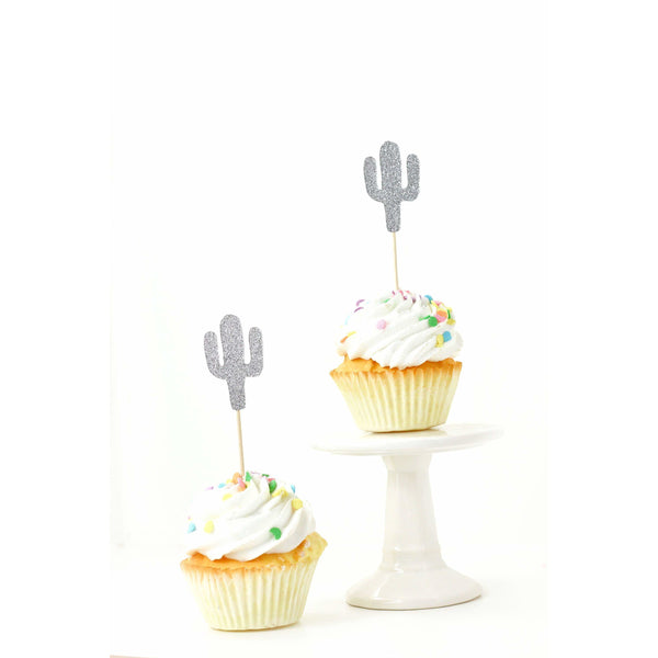 Cactus Silver Glitter Cupcake Toppers, Cake & Cupcake Toppers, Jamboree