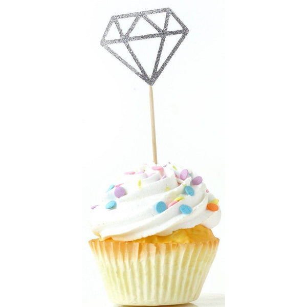 Diamond Silver Glitter Cupcake Toppers, Cake & Cupcake Toppers, Jamboree