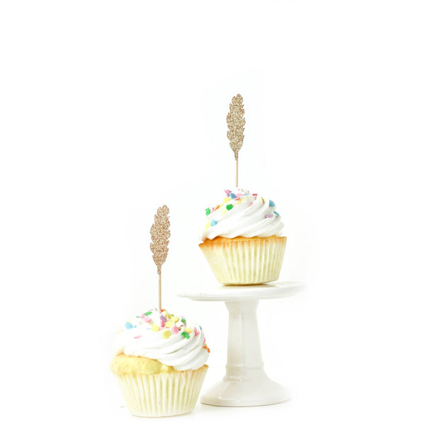 Feather Rose Gold Glitter Cupcake Toppers, Cake & Cupcake Toppers, Jamboree Party Box, Jamboree