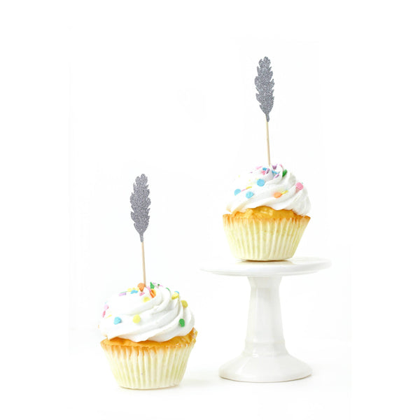 Feather Silver Glitter Cupcake Toppers, Cake & Cupcake Toppers, Jamboree Party Box, Jamboree