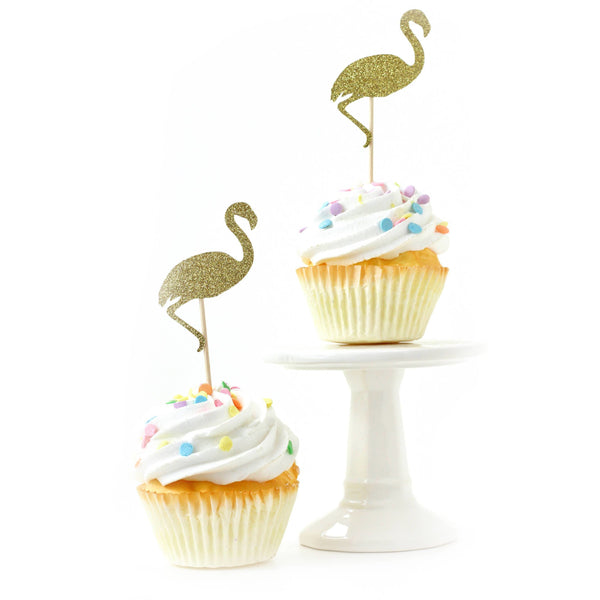 Flamingo Gold Glitter Cupcake Toppers, Cake & Cupcake Toppers, Jamboree