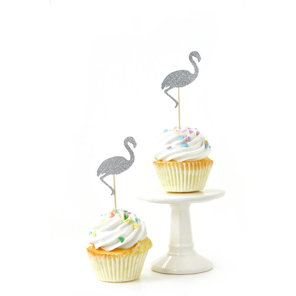Flamingo Silver Glitter Cupcake Toppers, Cake & Cupcake Toppers, Jamboree