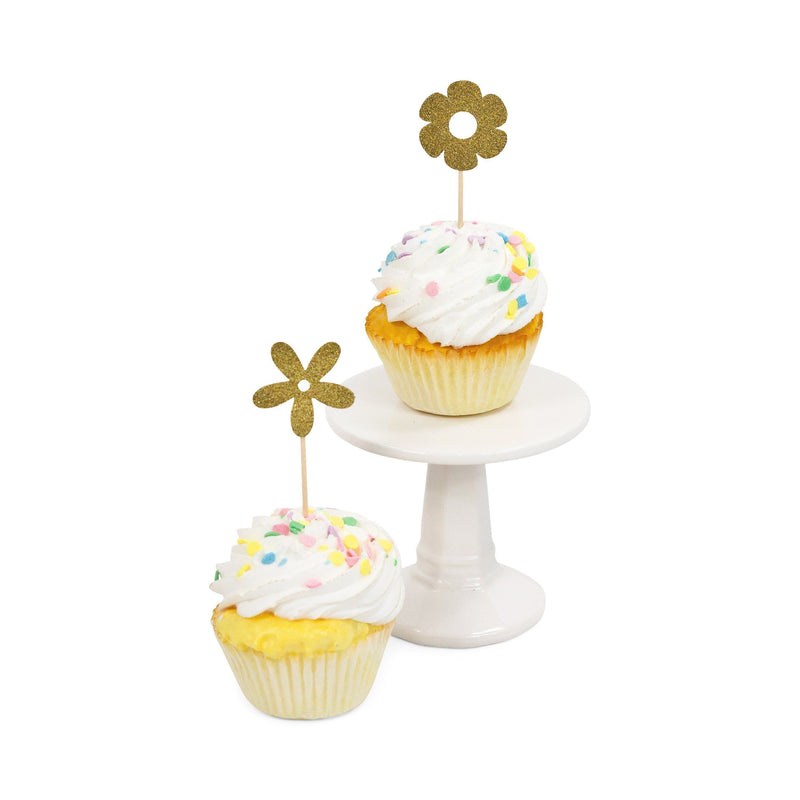 Flower Gold Glitter Cupcake Toppers, Cake & Cupcake Toppers, Jamboree