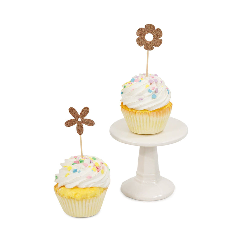 Flower Rose Gold Glitter Cupcake Toppers, Cake & Cupcake Toppers, Jamboree