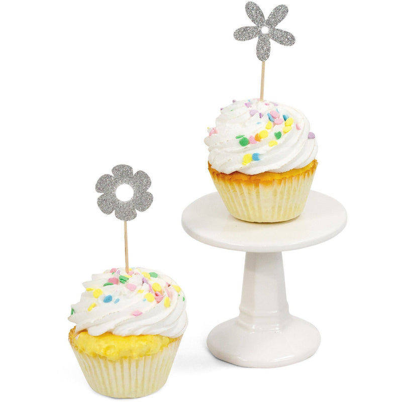 Flower Silver Glitter Cupcake Toppers, Cake & Cupcake Toppers, Jamboree Party Box, Jamboree