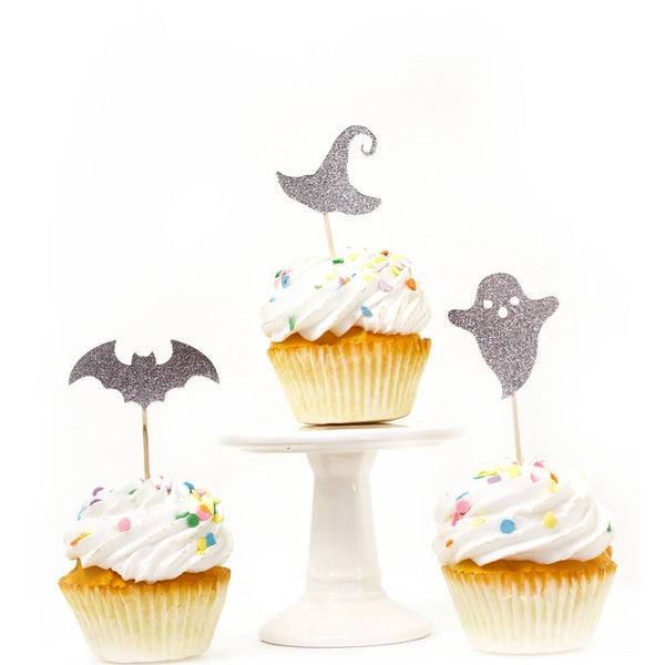 Cake & Cupcake Toppers - Halloween Variety Silver Glitter Cupcake Toppers