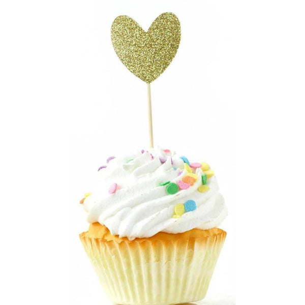 Heart Gold Glitter Cupcake Toppers, Cake & Cupcake Toppers, Jamboree