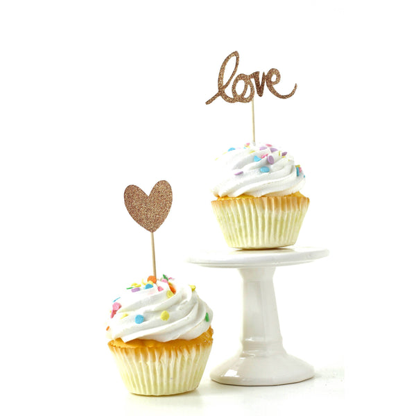 Cake & Cupcake Toppers - Heart/Love Rose Gold Glitter Cupcake Toppers
