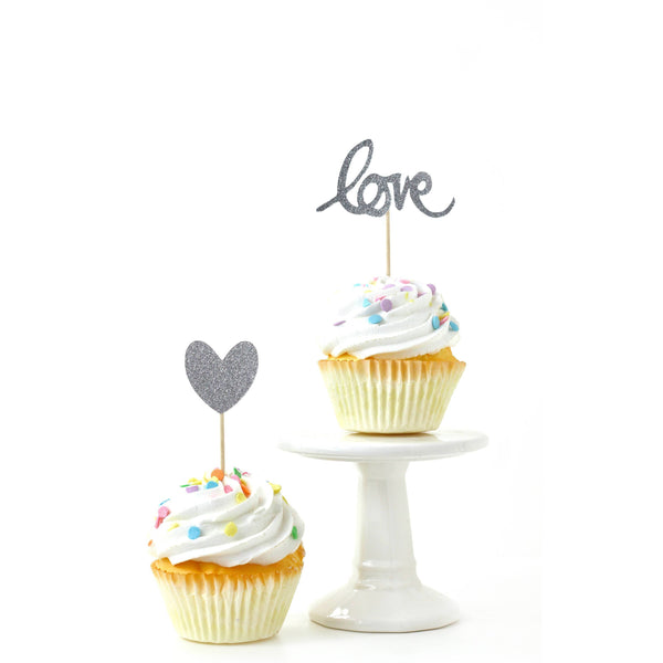 Heart/Love Silver Glitter Cupcake Toppers, Cake & Cupcake Toppers, Jamboree