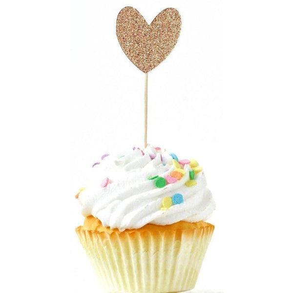 Cake & Cupcake Toppers - Heart Rose Gold Glitter Cupcake Toppers