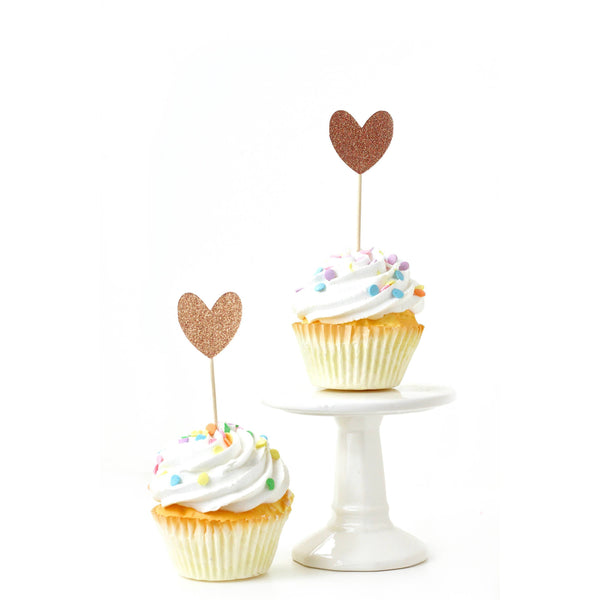 Heart Rose Gold Glitter Cupcake Toppers, Cake & Cupcake Toppers, Jamboree