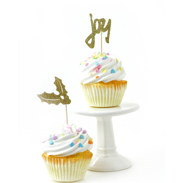 Cake & Cupcake Toppers - Holly/Joy Gold Glitter Cupcake Topper