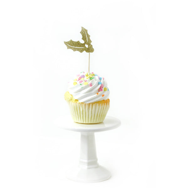 Holly/Joy Gold Glitter Cupcake Topper, Cake & Cupcake Toppers, Jamboree