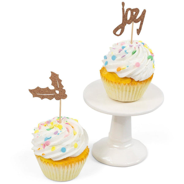 Cake & Cupcake Toppers - Holly/Joy Rose Gold Glitter Cupcake Toppers