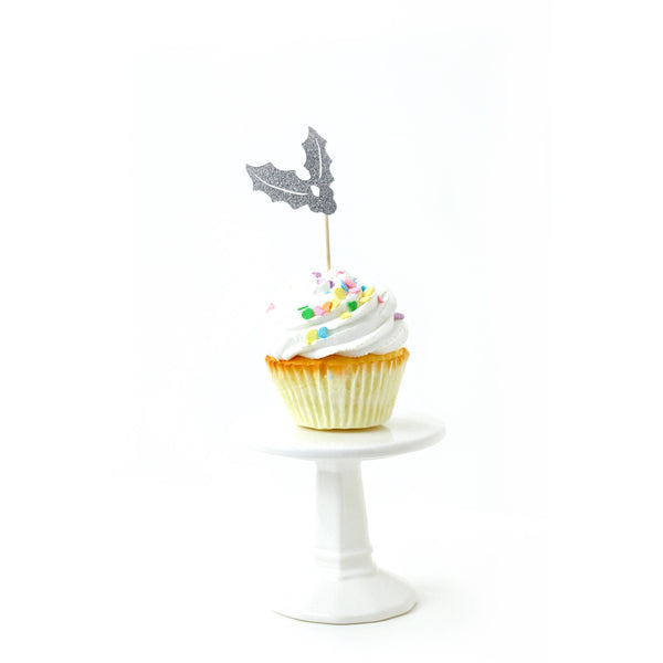 Holly/Joy Silver Glitter Cupcake Toppers, Cake & Cupcake Toppers, Jamboree
