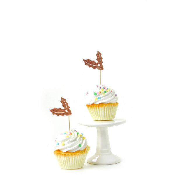 Cake & Cupcake Toppers - Holly Rose Gold Glitter Cupcake Toppers