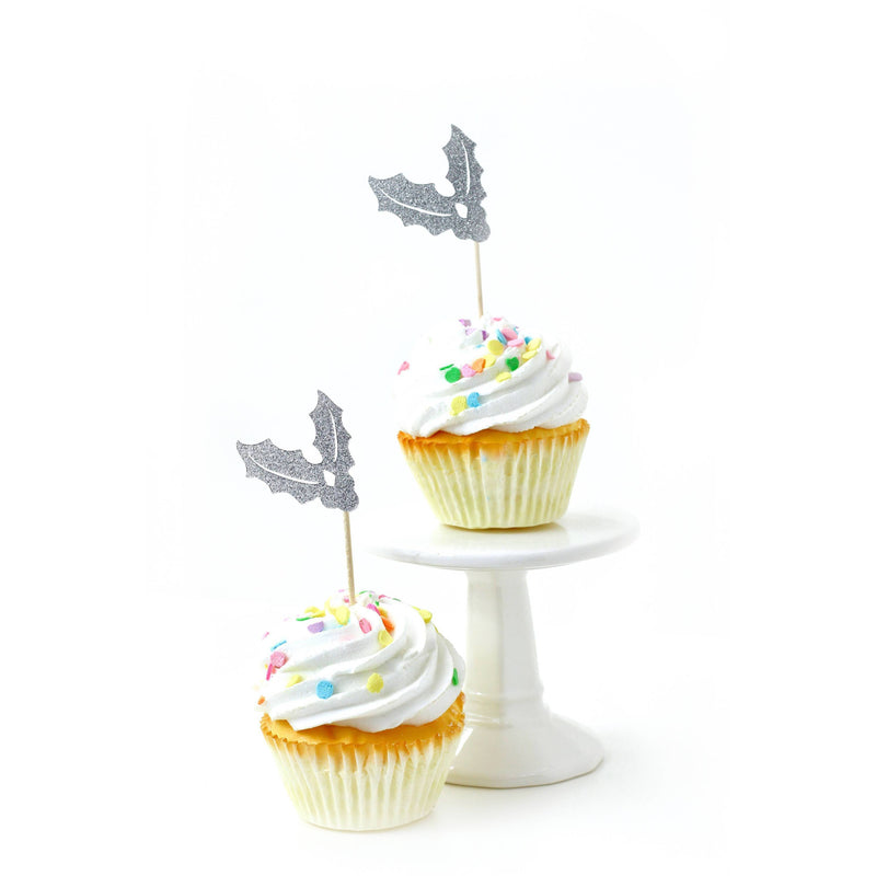 Holly Silver Glitter Cupcake Toppers, Cake & Cupcake Toppers, Jamboree