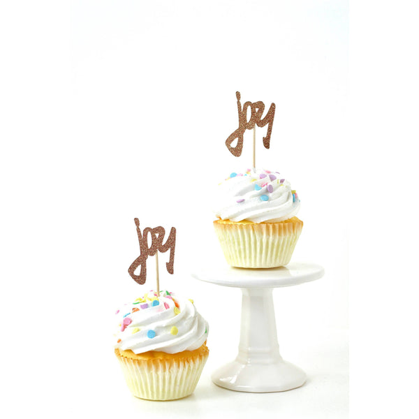 Cake & Cupcake Toppers - Joy Rose Gold Glitter Cupcake Toppers