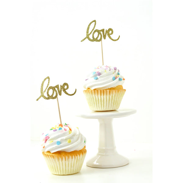 Love Gold Glitter Cupcake Toppers, Cake & Cupcake Toppers, Jamboree