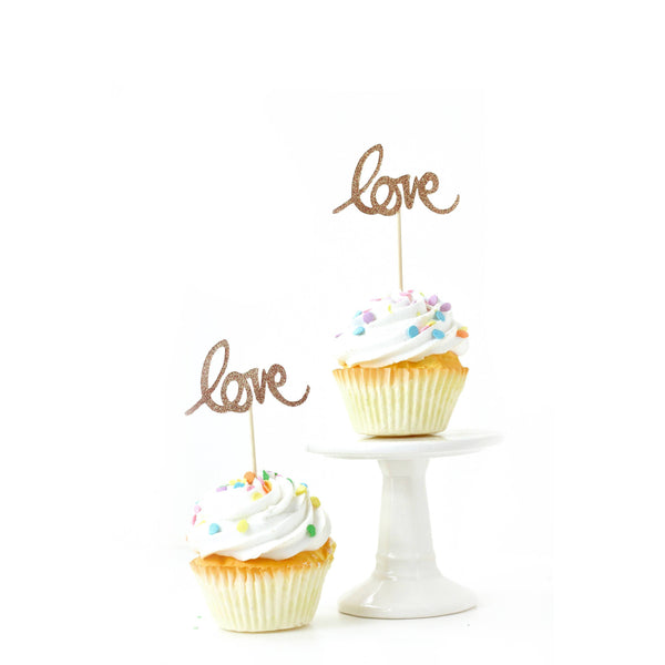Cake & Cupcake Toppers - Love Rose Gold Glitter Cupcake Toppers