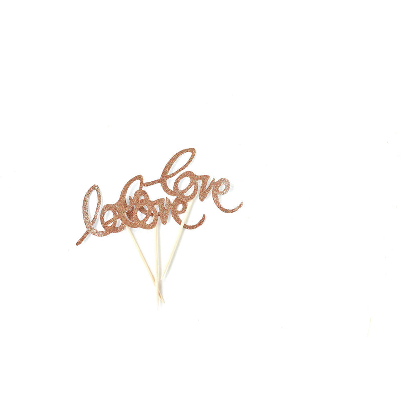 Love Rose Gold Glitter Cupcake Toppers, Cake & Cupcake Toppers, Jamboree