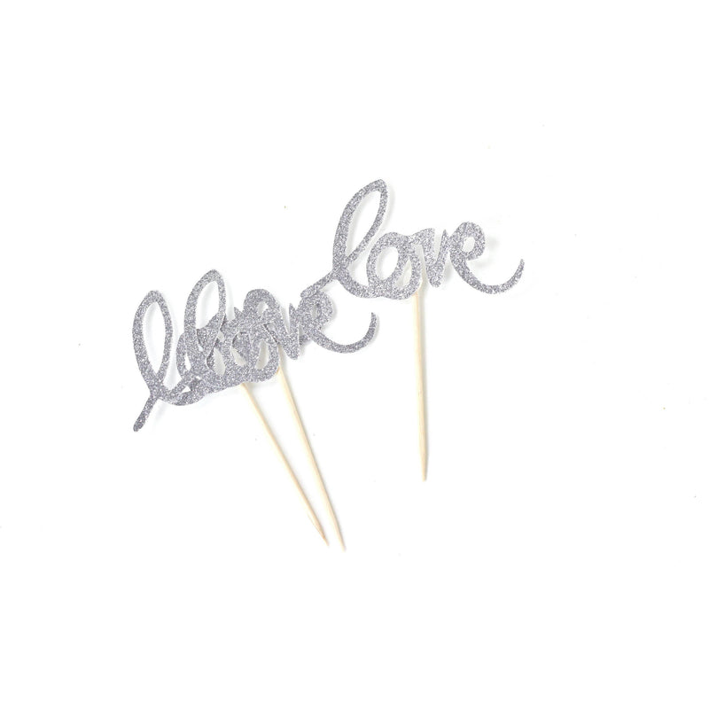 Love Silver Glitter Cupcake Toppers, Cake & Cupcake Toppers, Jamboree