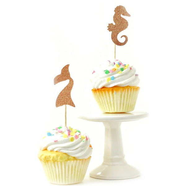 Cake & Cupcake Toppers - Mermaid Rose Gold Glitter Cupcake Toppers