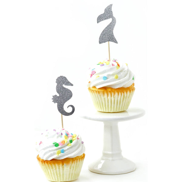 Mermaid Silver Glitter Cupcake Toppers, Cake & Cupcake Toppers, Jamboree