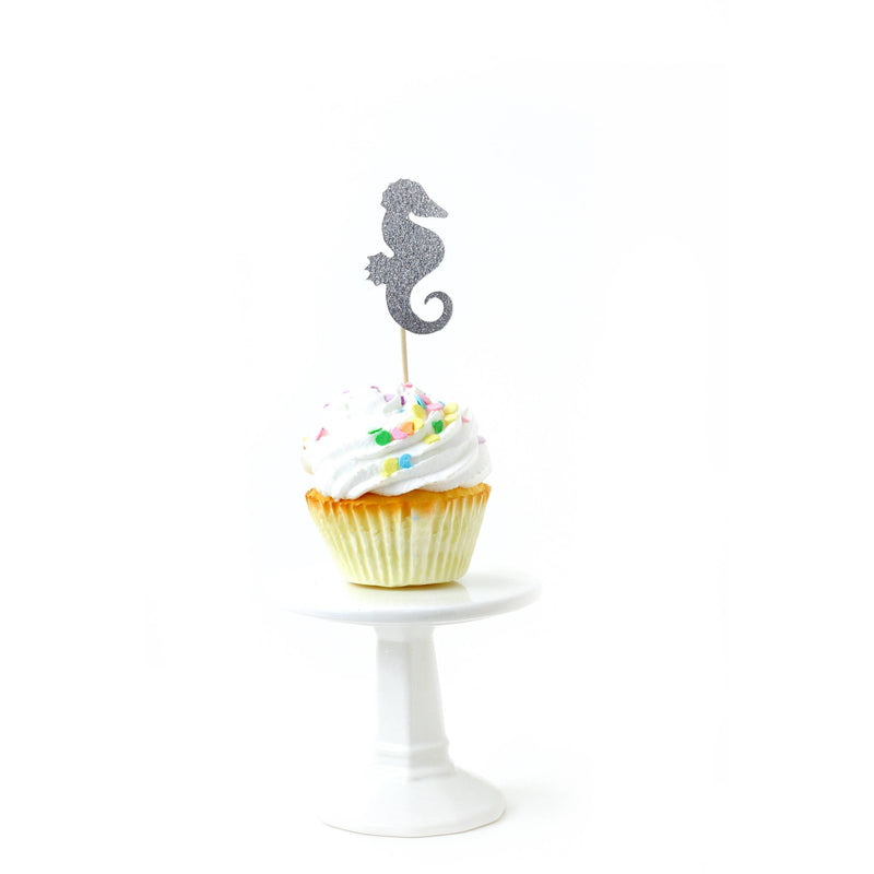 Cake & Cupcake Toppers - Mermaid Silver Glitter Cupcake Toppers