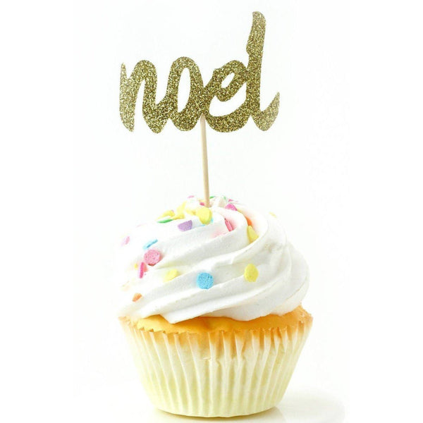 Noel Gold Glitter Cupcake Toppers, Cake & Cupcake Toppers, Jamboree