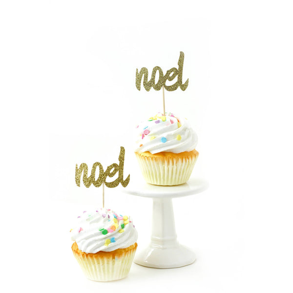 Cake & Cupcake Toppers - Noel Gold Glitter Cupcake Toppers