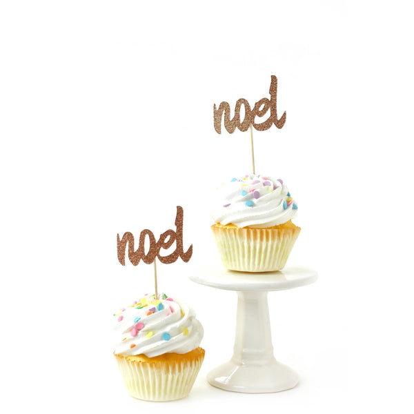 Cake & Cupcake Toppers - Noel Rose Gold Glitter Cupcake Toppers