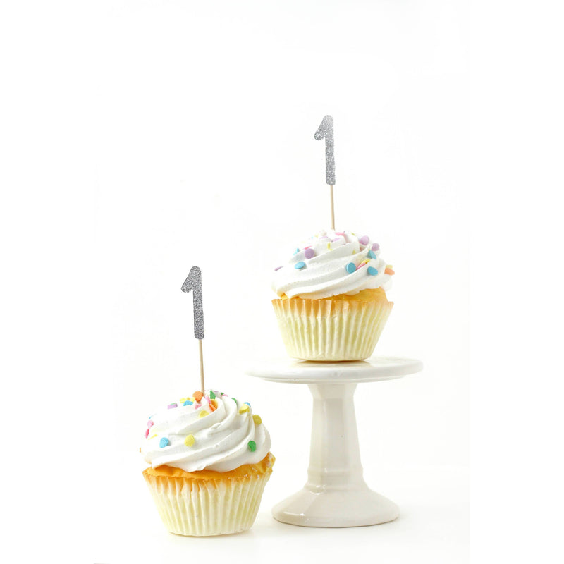 Number 1 Silver Glitter Cupcake Toppers, Cake & Cupcake Toppers, Jamboree