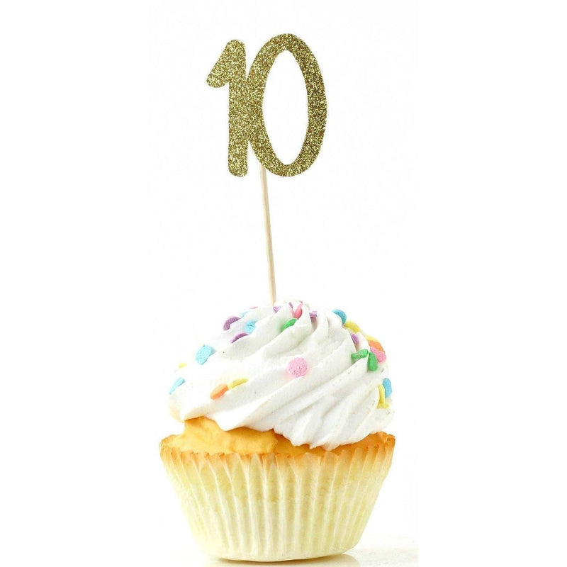 Number 10 Gold Glitter Cupcake Toppers, Cake & Cupcake Toppers, Jamboree