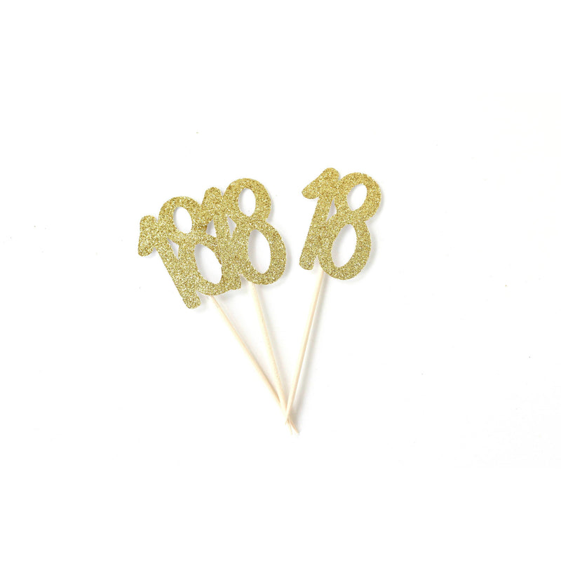 Number 18 Gold Glitter Cupcake Toppers, Cake & Cupcake Toppers, Jamboree