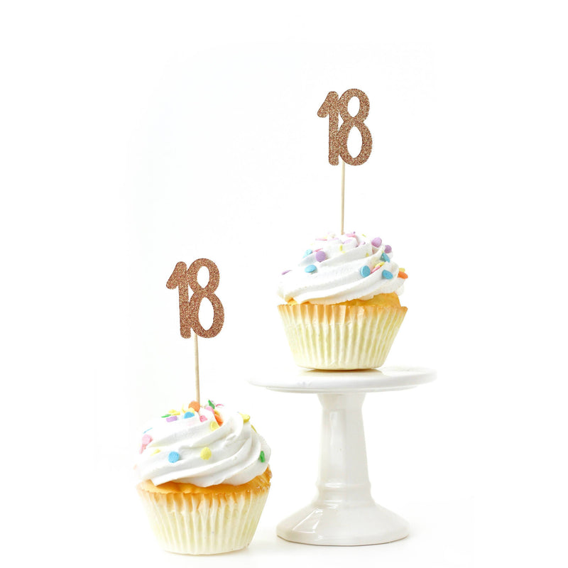 Cake & Cupcake Toppers - Number 18 Rose Gold Glitter Cupcake Toppers