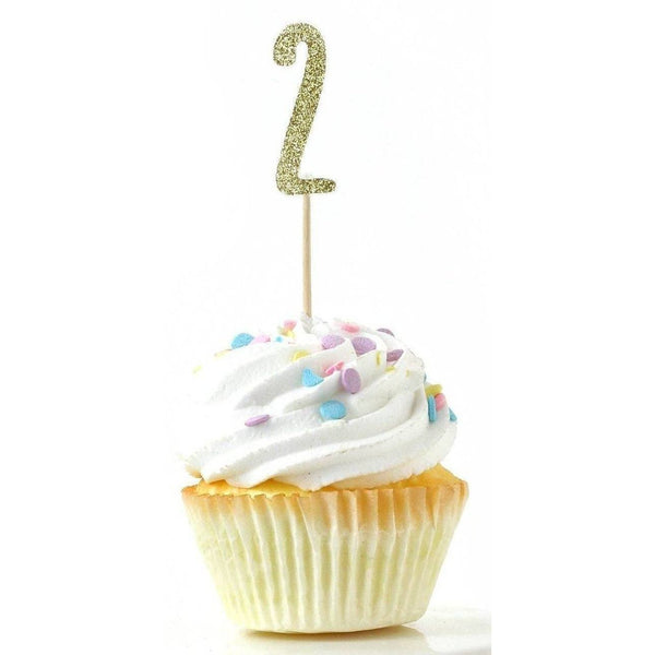 Cake & Cupcake Toppers - Number 2 Gold Glitter Cupcake Toppers