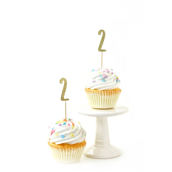 Number 2 Gold Glitter Cupcake Toppers, Cake & Cupcake Toppers, Jamboree