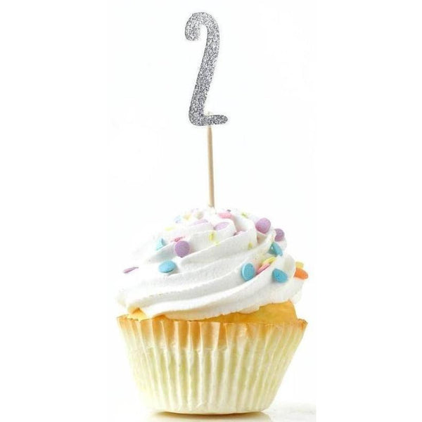 Cake & Cupcake Toppers - Number 2 Silver Glitter Cupcake Toppers